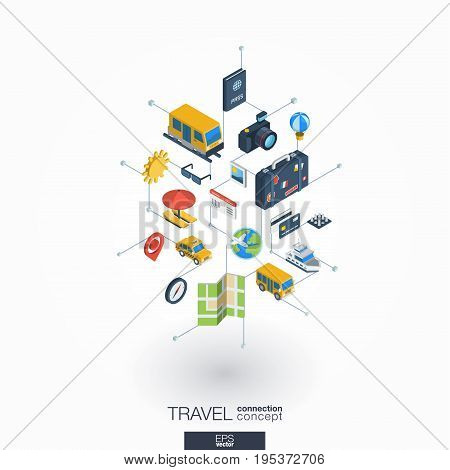 Travel integrated 3d web icons. Digital network isometric interact concept. Connected graphic design dot and line system. Background whith tour map, hotel booking, flight ticket. Vector on white.