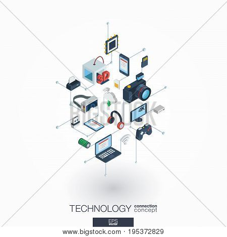 Technology integrated 3d web icons. Digital network isometric interact concept. Connected graphic design dot and line system. Background whith wireless printing and virtual reality. Vector on white.