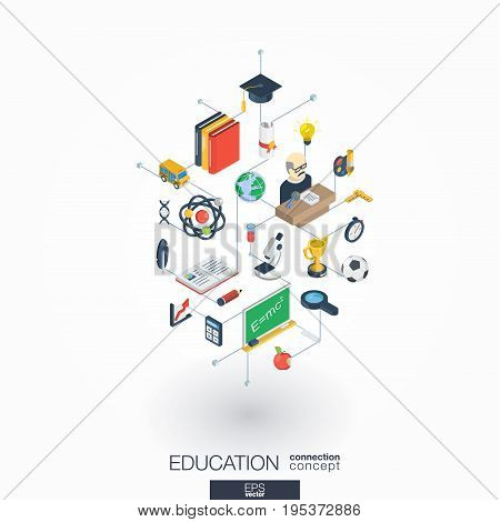 Education integrated 3d web icons. Digital network isometric interact concept. Connected graphic design dot and line system. Abstract background for elearning, graduation and school. Vector on white.