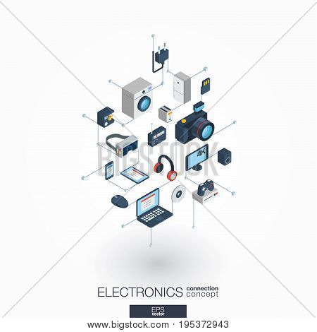 Electronics integrated 3d web icons. Digital network isometric interact concept. Connected graphic design dot and line system. Abstract background for technology, household gadgets. Vector on white.