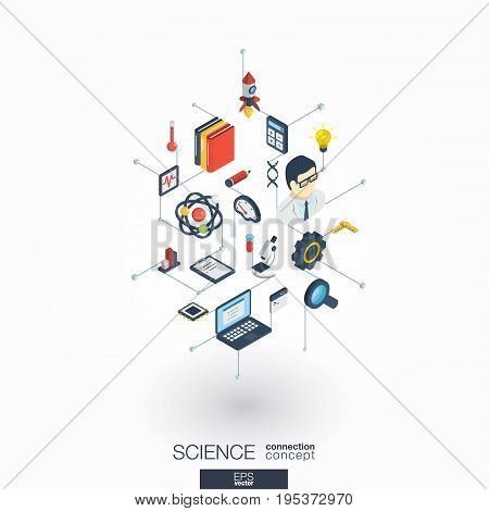 Science integrated 3d web icons. Digital network isometric interact concept. Connected graphic design dot and line system. Abstract background for laboratory research and innovation. Vector on white.