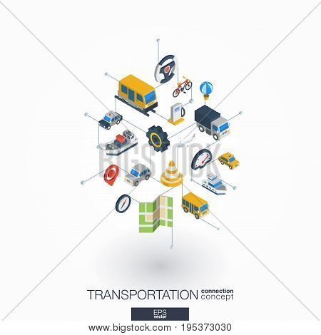 Transportation integrated 3d web icons. Digital network isometric interact concept. Connected graphic design dot and line system. Abstract background for traffic, navigation service. Vector on white.