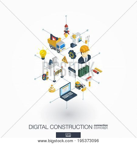 Website under construction integrated 3d web icons. Digital network isometric interact concept. Connected graphic design dot and line system. Abstract background for app development. Vector on white.