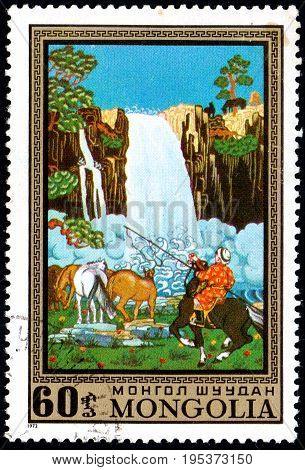 UKRAINE - CIRCA 2017: A postage stamp printed in Mongolia shows Waterfall and horses from the series Paintings by contemporary artists in Ulan Bator Museum circa 1972