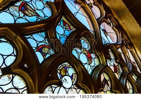 Old Medieval Colorful Leaded-pane Windows In Gothic Style