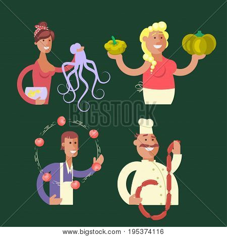 Set of stickers Cartoon character sellers men and women with fish, fruit, vegetable and meat shop. Vector illustration