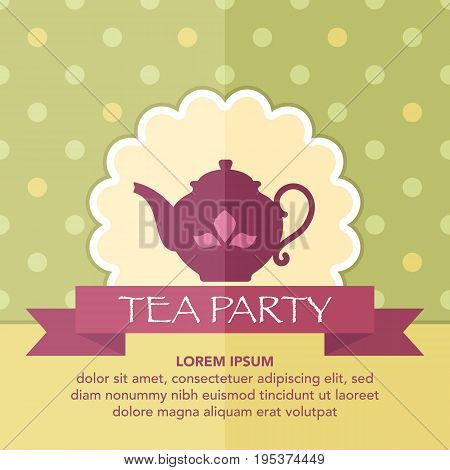 Vintage card with teapot on dots seamless background