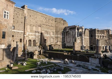 Temple of Trajan, in the city of Rome, Italy