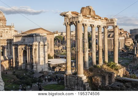 Views of Roman Forum, Rome, Italy, with the Temple of Saturn and the Arch of Septimius Severus