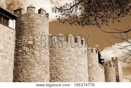 Towers of castle Avila at Castilla and Leon in Spain