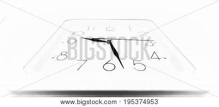 White arrow clock on a white wall at an acute angle.