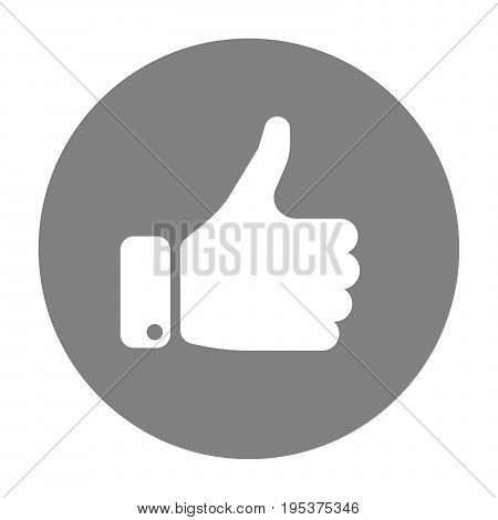 White hand silhouette with thumb up in grey circle. Gesture of like, agree, yes, approval or encouragement. Simple flat vector illustration.