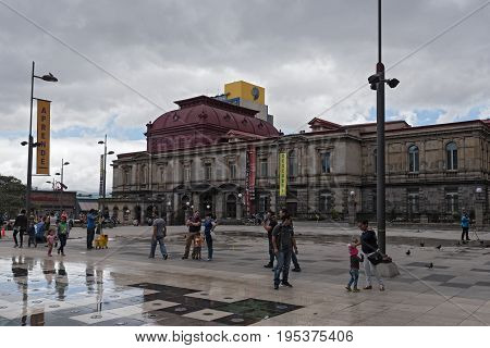SAN JOSE, COSTA RICA-MARCH 04, 2017: The National Theater of Costa Rica in San Jose