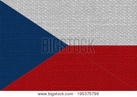 Czech Flag Of Czech Republic With Fabric Texture