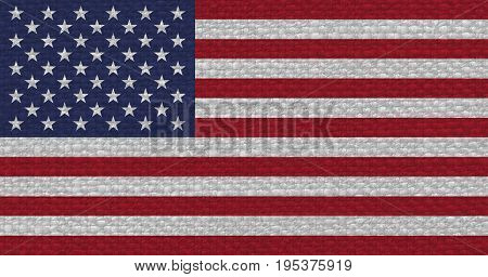 American Flag Of United States Of America With Fabric Texture