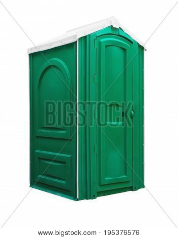 Mobile toilet isolated. Green outdoor wc. Street Restroom