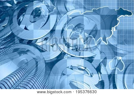 Financial background in blues with map calculator buildings and mail signs.
