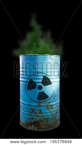 Blue Barrel Of Toxic Waste Isolated. Acid In Barrels. Beware Of Poison. Toxicity