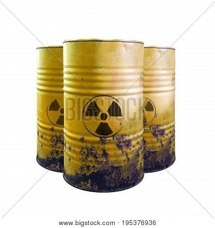 Yellow Barrel Of Toxic Waste Isolated. Acid In Barrels. Beware Of Poison. Toxicity