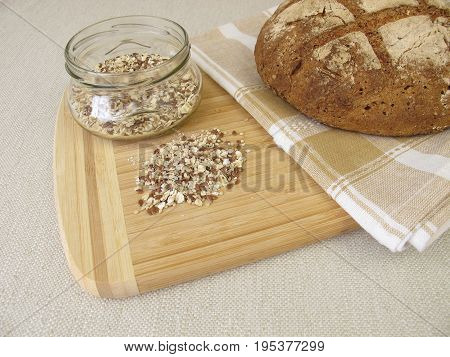 Homemade rye bread with rye croats and seeds