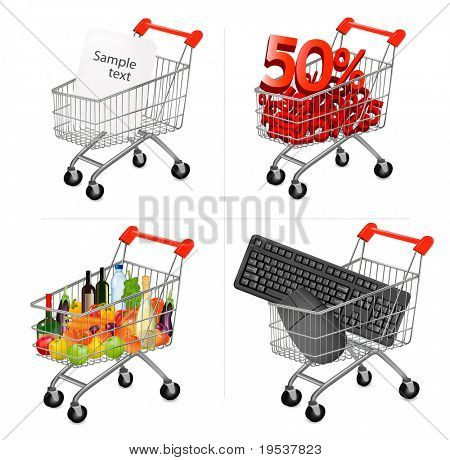 Vector illustration of a shopping carts on the white.