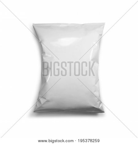 blank or white plastic bag snack packaging