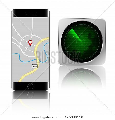 If the smartphone disappear. You can find your smartphone by application. Find smartphone application with mobile phone isolated on white background. Vector illustration.