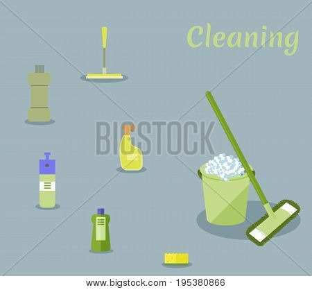 Tools for housekeeping: a green bucket with soapy foam, MOP with handle and cloth, bottles of detergent with covers, sprays and a yellow sponge, a squeegee. Vector illustration. Cleaning