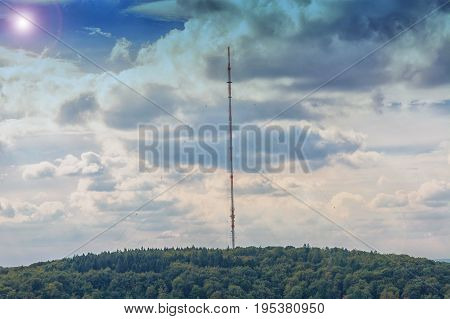 Remote signaling tower antenna for transmitting various radio signals.
