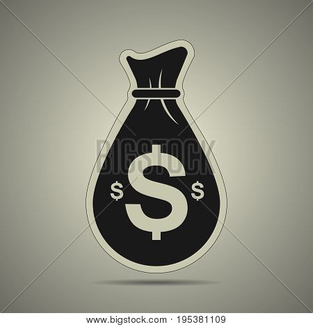 Black cash bag icon in flat style black and white colors
