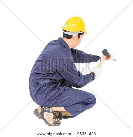 Man Hold Hammer And Cold Chisel On White