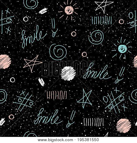 Doodle Elements Seamless Background. Abstract Childish Blue, White And Pink Shape