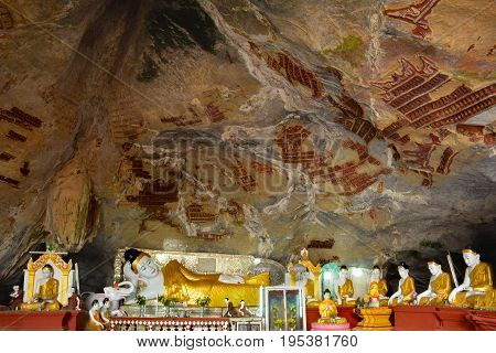A Lot Of Different Buddha Sculptures In Kaw Gun Cave In Hpa-an, Myanmar