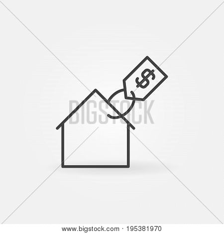 House with price tag icon - vector real estate concept outline sign
