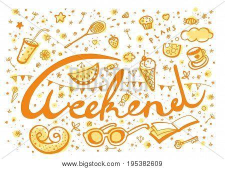 Weekend Plans symbols - doodle vector design