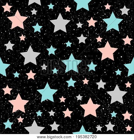 Star Seamless Background. Grey, Blue And Pink Star.