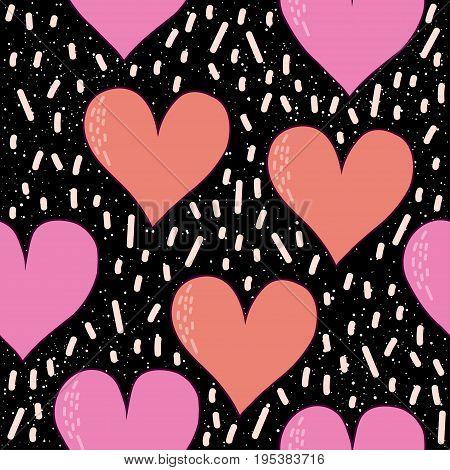 Heart Seamless Pattern Background. Doodle Handmade Heart