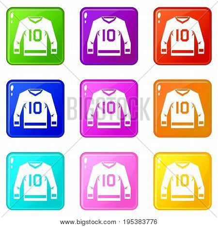 Hockey jersey icons of 9 color set isolated vector illustration