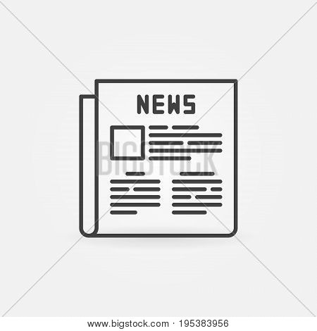 Newspaper outline icon - vector thin line news concept symbol or logo element