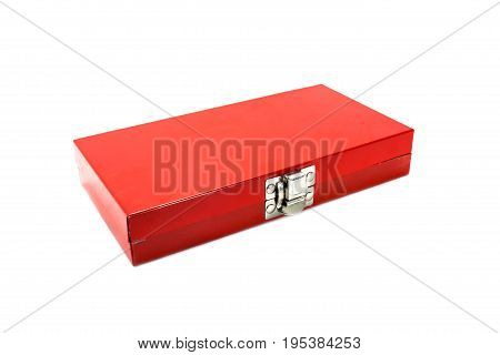 red steel toolbox isolated on white background