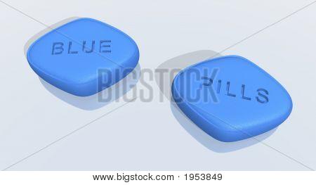 a 3d rendering of blue sex pills poster
