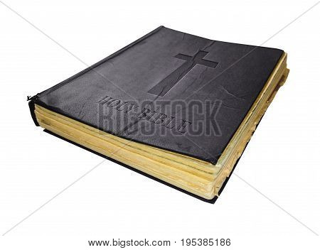 Bible Old Holy Sacred Book Isolated On White Background