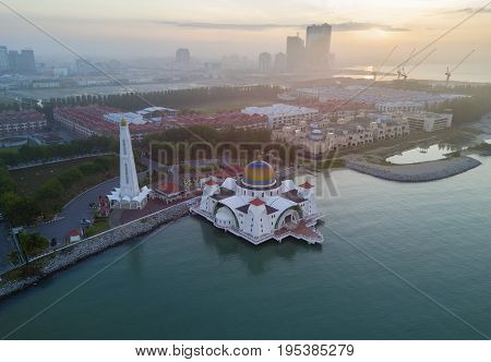Arial View Of Malacca Straits Mosque During Sunset.
