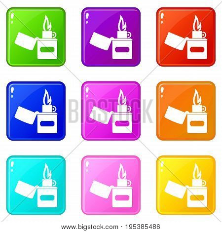 Lighter icons of 9 color set isolated vector illustration