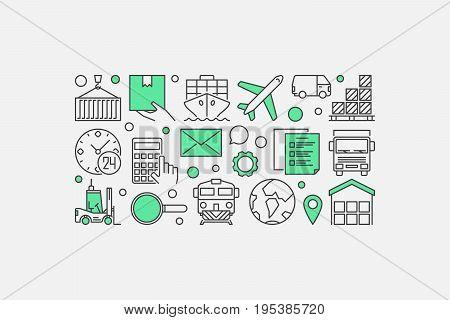 Logistics and delivery illustration - vector minimal banner made with transportation and logistic icons on whtie background