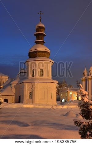 Refectory of St. John the Divine powdered with snow. Church has wood roof. Part of St. Michael's Golden-Domed Monastery (Kiev Ukraine).
