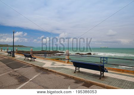 Empty Santander waterfront promenade in Cantabria Spain