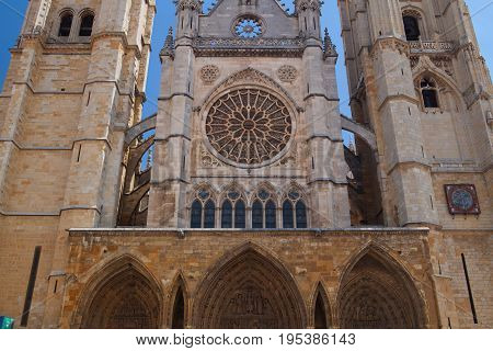 Santa María de Leon Cathedral in sunny day. It is also called The House of Light and is situated in the city of Leon in north western Spain