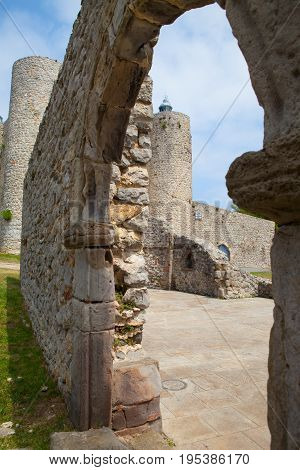 Detail of Santa Maria de la Asuncion Cathedral and Medieval Castle and Lighthouse St. Ana Castro Urdiales Cantabria Spain