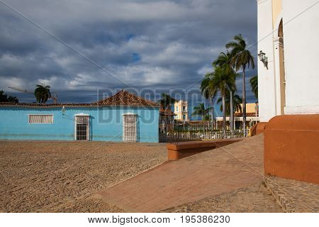 Plaza Mayor - Principal square of Trinidad. One of UNESCOs World Heritage sites since 1988. Sancti Spiritus Province Cuba.